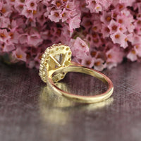 Cushion Natural Champagne Yellow Sapphire Ring in 18k Yellow Gold Halo Diamond, Size 6.25