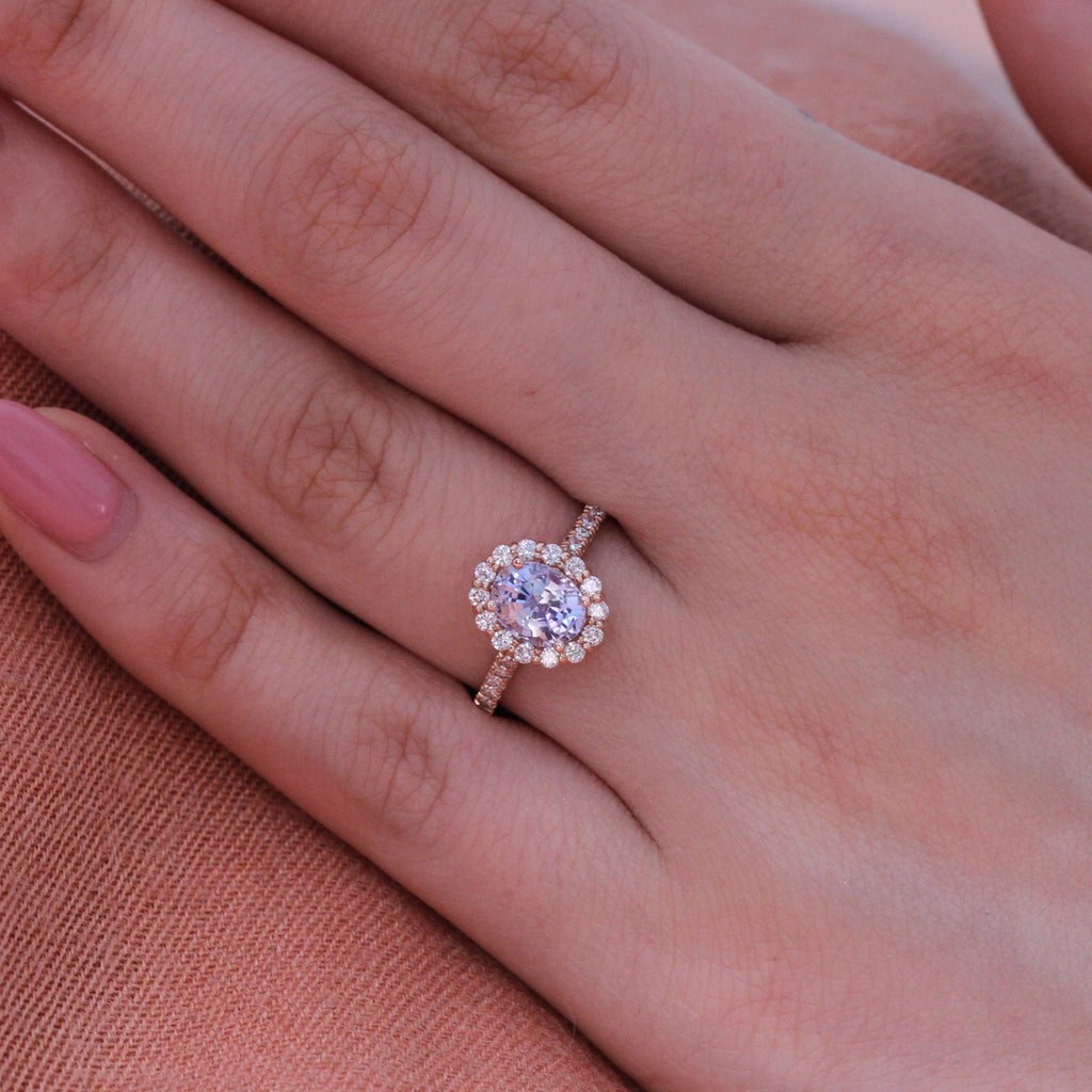 Natural Light Blue Sapphire Engagement Ring In 14k Rose