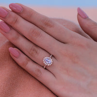 Natural Light Blue Sapphire Engagement Ring in 14k Rose Gold Halo Diamond, Size 6.25