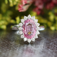 Natural padparadscha pink sapphire engagement ring in 14k white gold by la more design