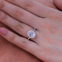 Natural pastel blue sapphire engagement ring in 18k white gold by la more design