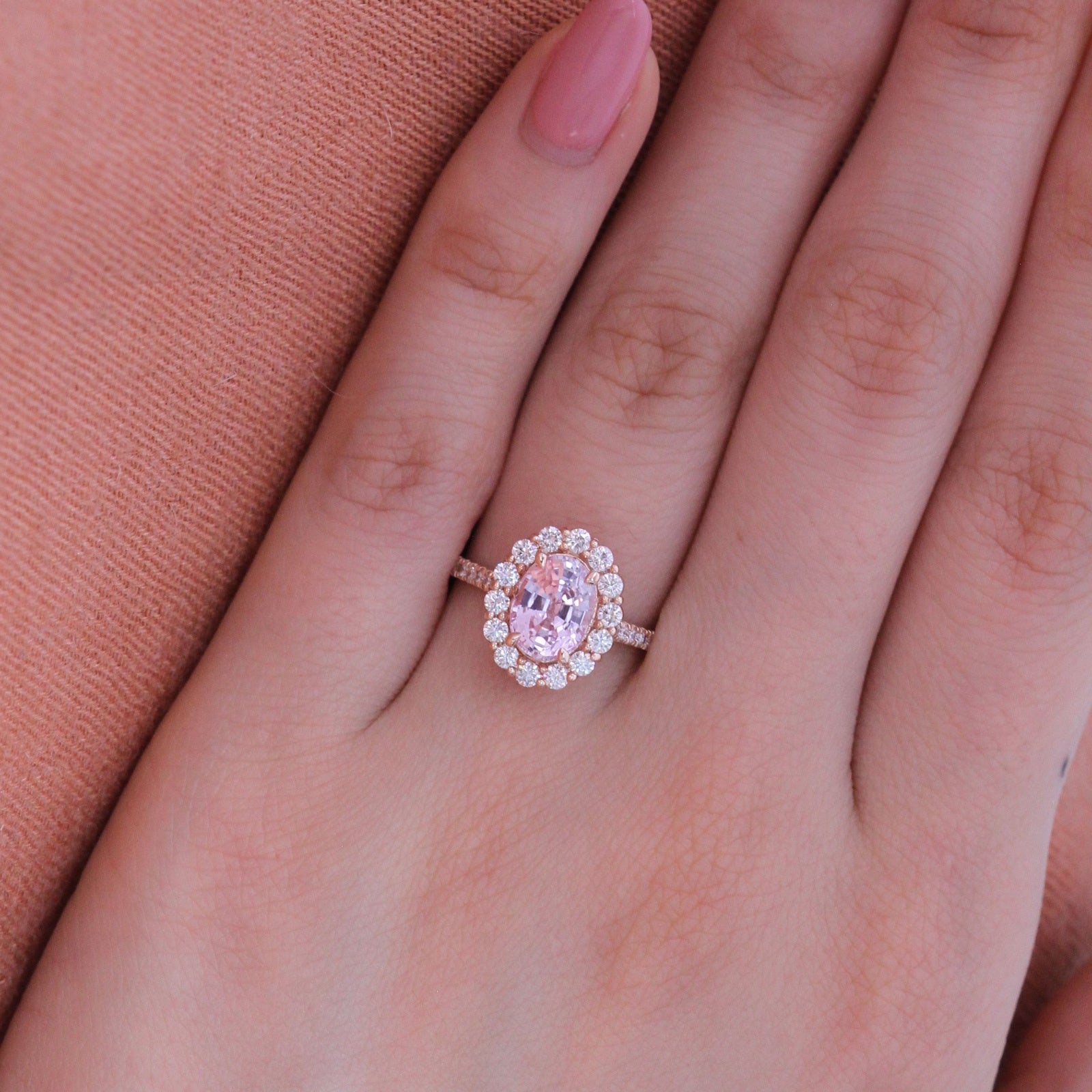 Natural Pastel Pink Sapphire Engagement Ring in 14k Rose Gold Halo ...
