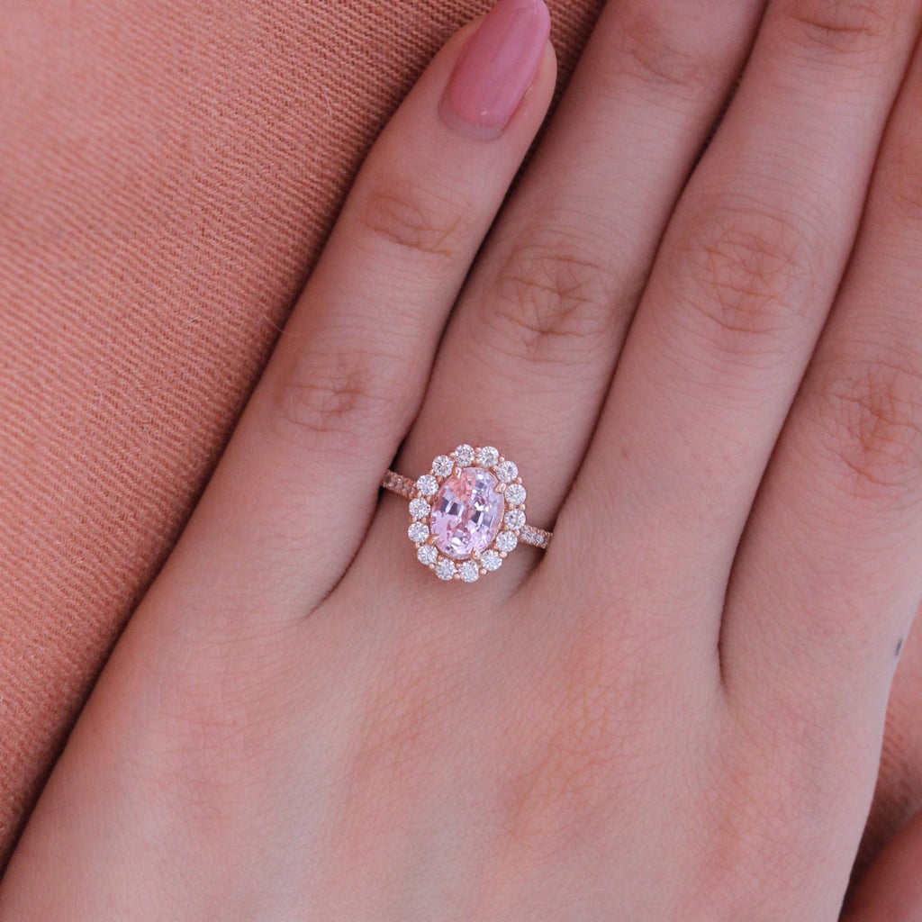 Natural Champagne Pink Sapphire Engagement Ring In 14k Rose Gold Halo Diamond Size 6 La More