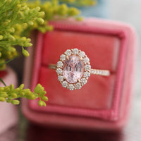 Natural pastel pink sapphire engagement ring in 14k rose gold by la more design