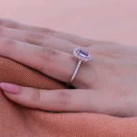 Large Cushion Cut Natural Pink Sapphire Ring In 18k White Gold Halo Diamond Size 6 25