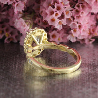 Natural Yellow Sapphire Ring in 18k Yellow Gold Halo Diamond Scalloped Band, Size 6.25
