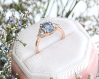 Reserved Large Aqua Blue Sapphire Ring in 14k Rose Gold 3 Stone Ring, Size 6  (Payment #7)