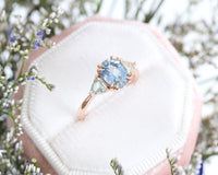 Oval Aqua Blue Sapphire Engagement Ring in Rose Gold 3 Stone Ring by La More Design Jewelry