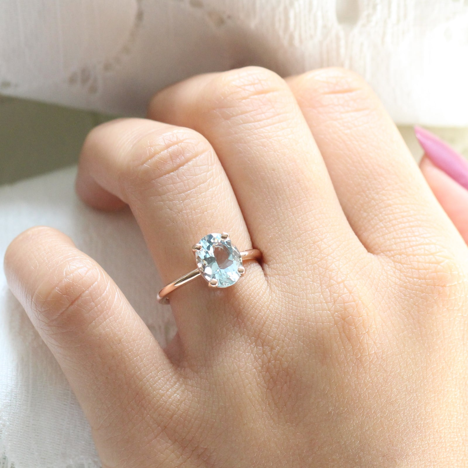 Oval Aquamarine Ring In 14k Rose Gold Low Profile