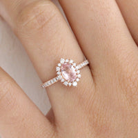Oval Peach Sapphire Engagement Ring in Rose Gold Halo Diamond Cluster Ring by La More Design Jewelry