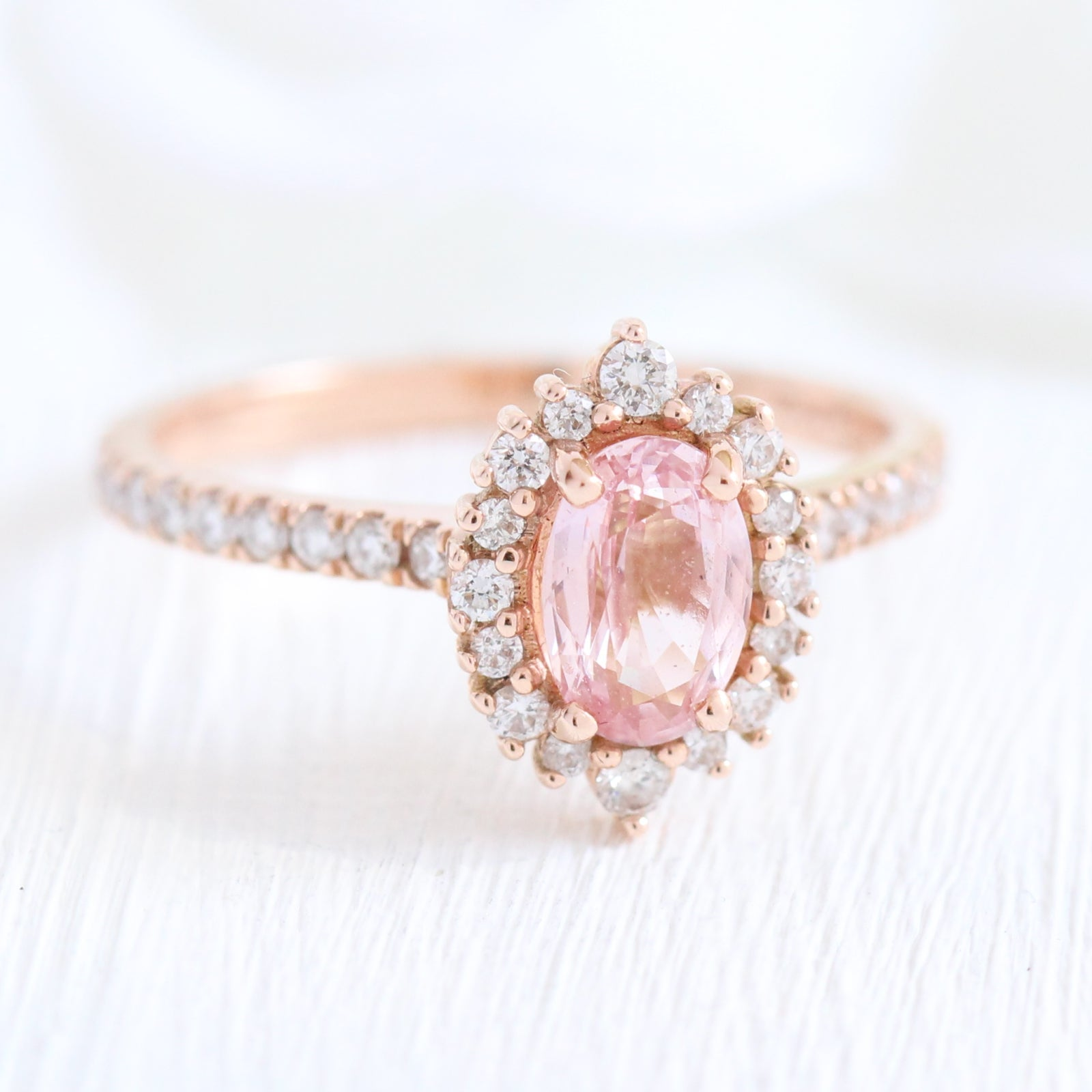 Tiara Halo Diamond Peach Sapphire Engagement Ring In 14k Rose Gold Pave Band Size 6 25 La More Design,Modern White Kitchen Cabinets With Grey Countertops