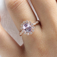 Oval Purple Sapphire Engagement Ring Rose Gold Vintage Style Diamond Ring by La More Design Jewelry