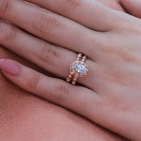oval aquamarine ring bridal set pebble diamond band rose gold by la more design