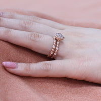 aquamarine wedding ring set rose gold pebble diamond band by la more design