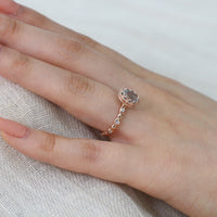 rose gold oval aquamarine engagement ring pebble diamond band by la more design