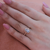 aquamarine floral engagement ring rose gold pebble diamond band by la more design
