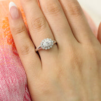 moissanite engagement ring in white gold east west setting diamond ring by la more design jewelry