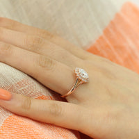 unique moissanite engagement ring in rose gold vintage inspired diamond ring by la more design