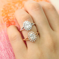 Oval forever one moissanite ring in rose gold vintage halo diamond band by la more design