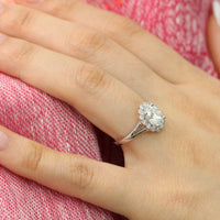 Oval forever one moissanite ring in white gold vintage halo diamond band by la more design