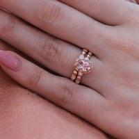oval morganite wedding ring set rose gold pebble diamond band by la more design