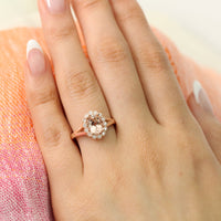 Oval morganite ring in rose gold vintage halo diamond band by la more design
