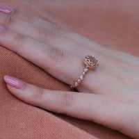 Floral Solitaire Ring in Pebble Band w/ 9x7mm Morganite and Diamond