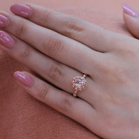 morganite pebble ring rose gold oval ring diamond band by la more design