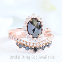 Oval rose cut black diamond ring rose gold and crown diamond wedding set by la more design