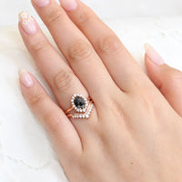 Oval rose cut black diamond ring rose gold and v shaped diamond wedding set by la more design