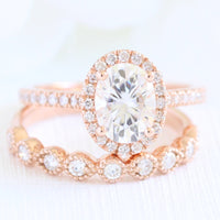 Oval moissanite engagement ring rose gold halo diamond bridal set la more design jewelry