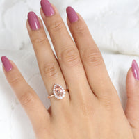 Peach Morganite Engagement Ring in Rose Gold Halo Diamond Pear Ring by La More Design Jewelry