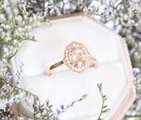 Peach Sapphire Engagement Ring in Rose Gold Vintage Floral Diamond Ring by La More Design Jewelry