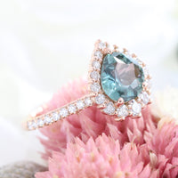 Pear Teal green sapphire engagement ring rose gold halo diamond ring la more design jewelry