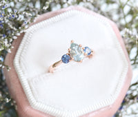 Pear Aqua Blue Sapphire Engagement Ring in Rose Gold 3 Stone Ring by La More Design Jewelry