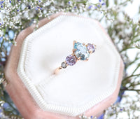 Pear Aqua Blue Sapphire Engagement Ring in Rose Gold 5 Stone Diamond Ring by La More Design Jewelry