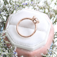 Custom vintage floral champagne peach sapphire ring in 14k rose gold plain band, size 5.5