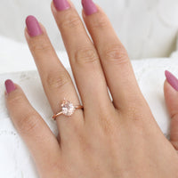 Pear Morganite Engagement Ring in Rose Gold Low Profile Solitaire Ring by La More Design Jewelry