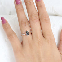 Pear Rose Cut Black Diamond Engagement Ring in Rose Gold Solitaire Ring by La More Design Jewelry