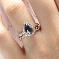 Pear black diamond engagement ring bridal set rose gold halo diamond band by la more design jewelry