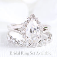 Pear moissanite ring bridal set in white gold vintage inspired diamond band by la more design