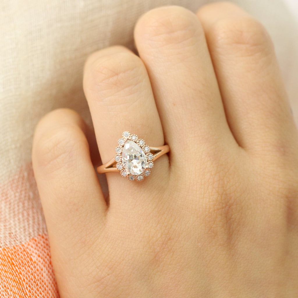 Vintage Luna Halo Ring W Pear Forever One Moissanite And Diamond La More Design