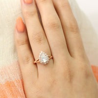 Pear forever one moissanite ring in rose gold vintage halo diamond band by la more design
