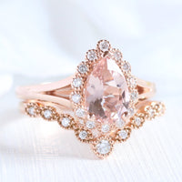 Pear morganite ring bridal set in rose gold vintage inspired diamond band by la more design