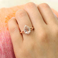 pear morganite ring in rose gold vintage halo diamond band by la more design