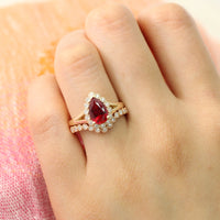 Pear ruby ring bridal set in yellow gold vintage inspired diamond band by la more design