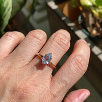 Pear aqua blue sapphire engagement ring rose gold low profile solitaire ring la more design jewelry