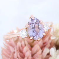 Pear lavender sapphire engagement ring rose gold 3 stone diamond ring la more design jewelry