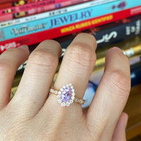 Pear lavender sapphire engagement ring rose gold tiara halo diamond ring la more design jewelry