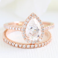 Pear moissanite engagement ring rose gold halo diamond bridal set la more design jewelry